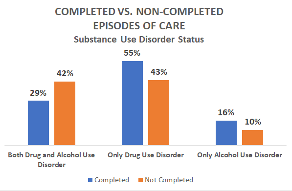 Completed vs Non-Completed Episodes of Care -Substance Use Disorder Status - 29 percent both drug and alcohol use disorder, 42 - 55, 43 drug only - 16, 10 alcohol only 2