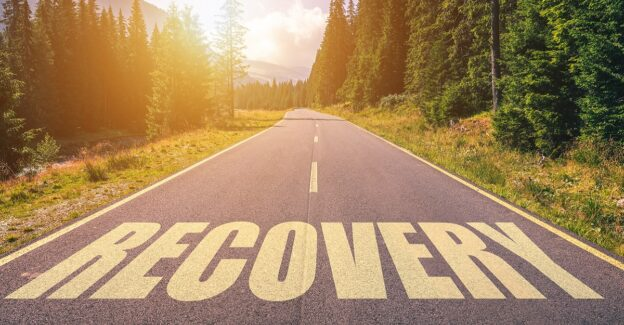 Recovery,Word,Written,On,Road,In,The,Mountains