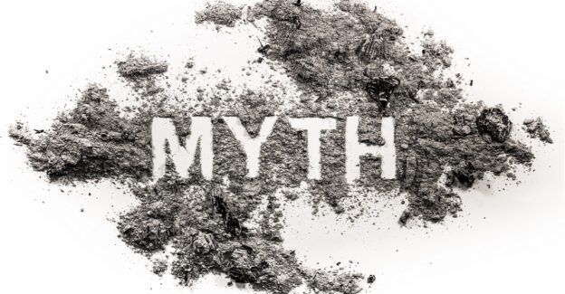 the word myth drawn in ash against a white background, 9 myths about addiction, Foundations Wellness Center