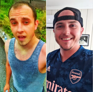 Alex, before and after, rehab success story, Foundations Wellness Center